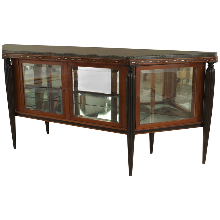 French Art Deco Sideboard with Marble Top by Maurice Dufrène For Sale