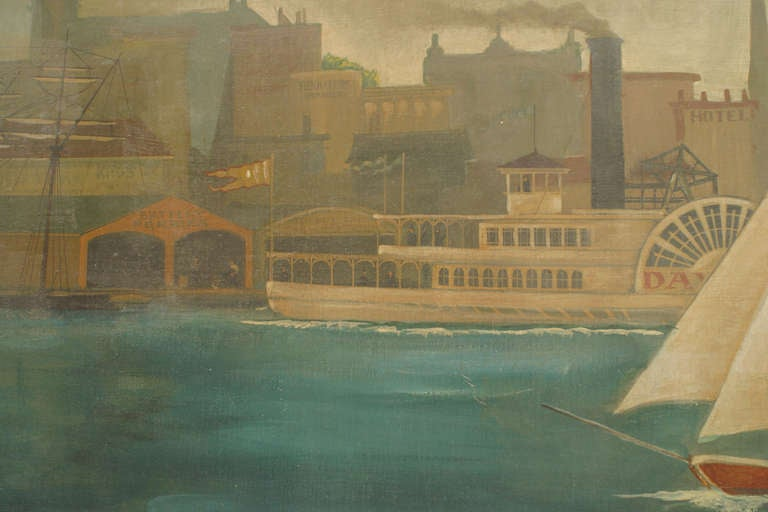Paint Monumental and Important 19th c. New York Harbor Panorama For Sale
