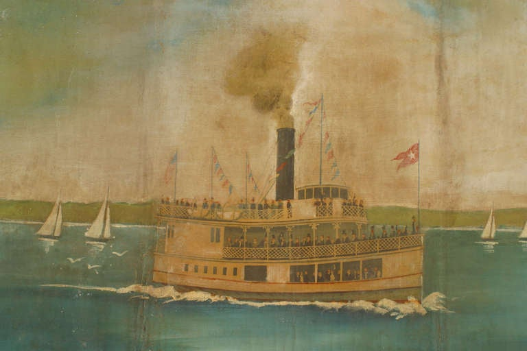 Hand-Painted Monumental and Important 19th c. New York Harbor Panorama For Sale