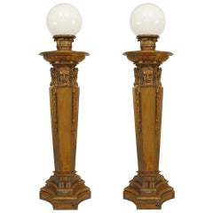Pair of American Victorian Neo-Classical Bronze Torchieres