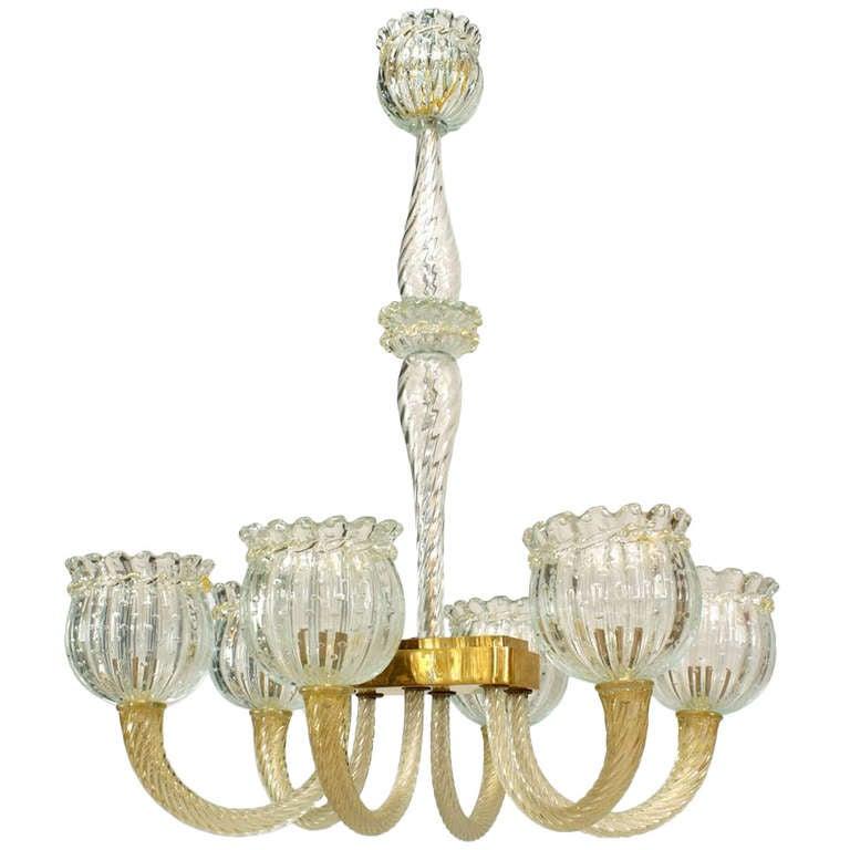 Barovier e Toso glass chandelier, 1940s