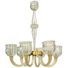 1940's Italian Glass Chandelier, Attributed to Barovier e Toso