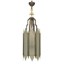 American Art Deco Iron and Frosted Glass Lantern