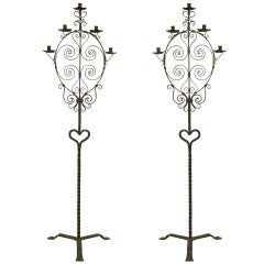 Pair of 20th c. Italian Renaissance Style Wrought Iron Torchieres