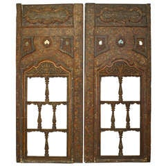 Pair of 16th c. Carved Open Design Persian Window Panels