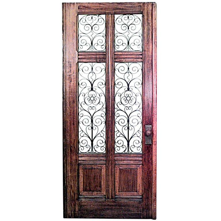 Large 19th C. Italian Oak And Glass Door With Copper Filigree 1