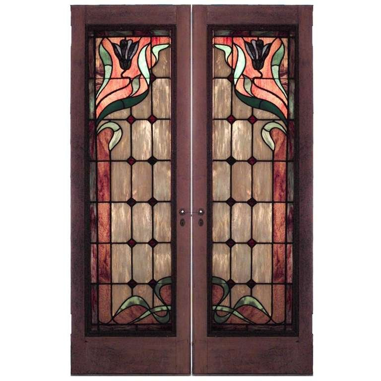 Pair Of Art Nouveau Stained Glass Doors At 1stdibs