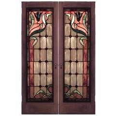 Pair of Art Nouveau Stained Glass Doors