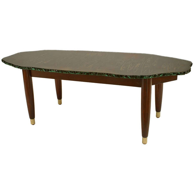 1950 39 S Italian Free Form Glass And Mahogany Coffee Table At 1stdibs