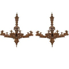 19th c. Baroque Style Carved Oak Chandeliers