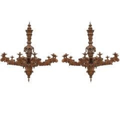2 Italian Rococo Style Carved Oak Chandeliers
