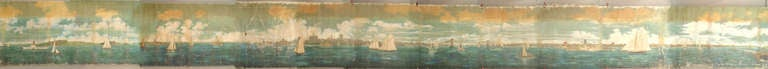 Measuring seventy-nine feet long and six feet high, this nineteenth century painted mural once ornamented the walls of the American Stock Exchange. This massive work depicts small figures, a variety of marine vessels, and surrounding landscapes and