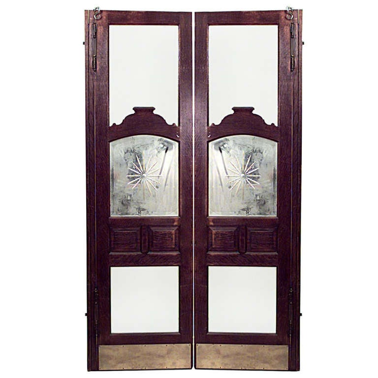 Pair of 19th c. American Oak and Bevelled Glass Saloon Doors