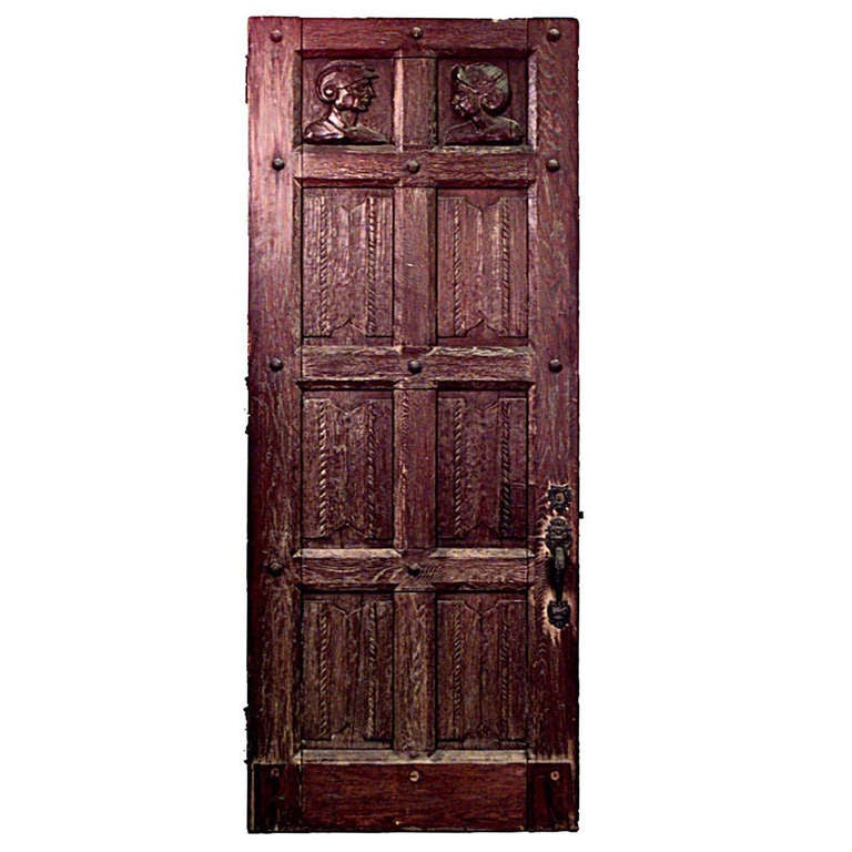 Large English Renaissance Style Door of Carved Oak For Sale