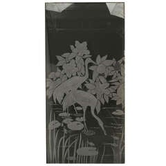 French Victorian Style Etched Glass Window Panel