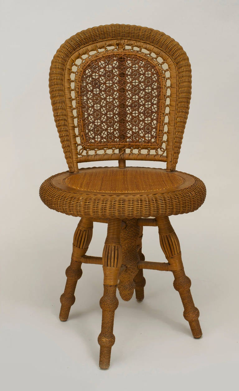 american swiveling wicker side chair by wakefield rattan