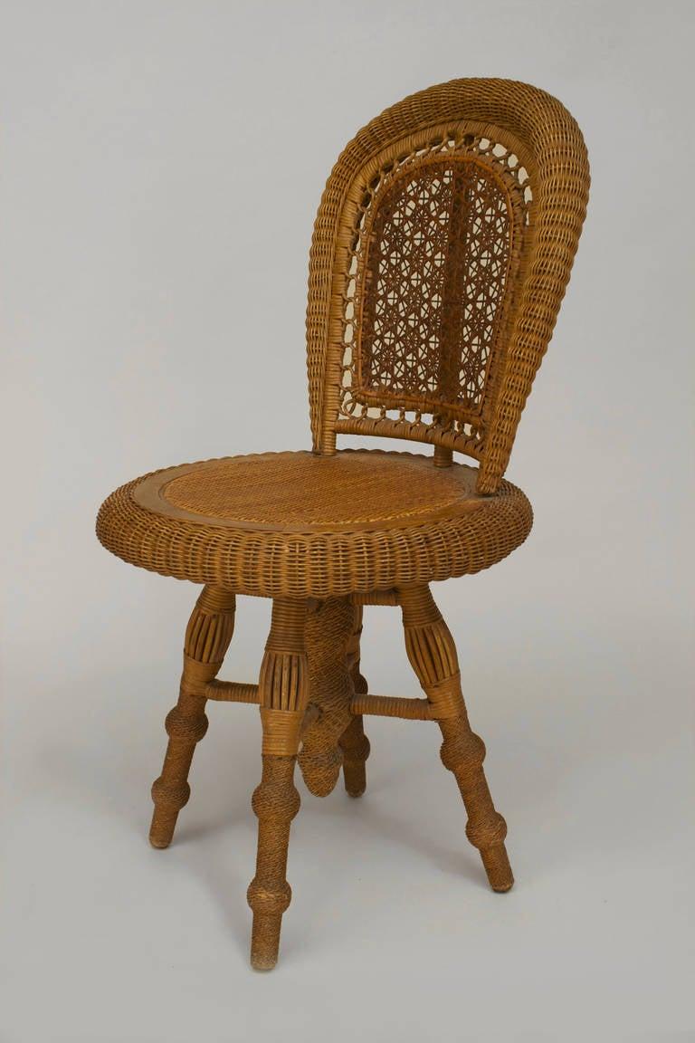 American Swiveling Wicker Side Chair By Wakefield Rattan