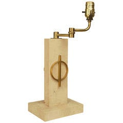 1940's French Brass and Travertine Marble Table Lamp