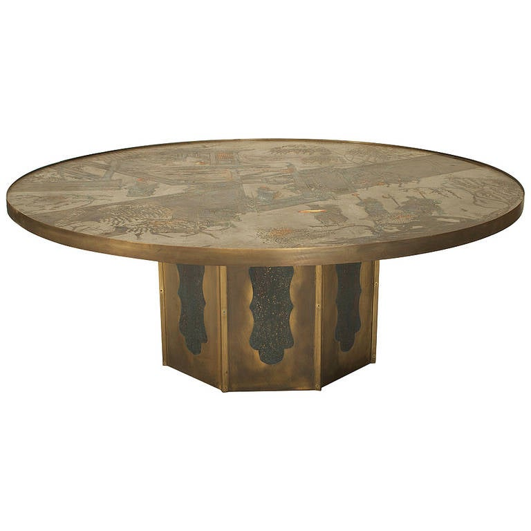 1980's American Patinated Bronze Coffee Table By Philip