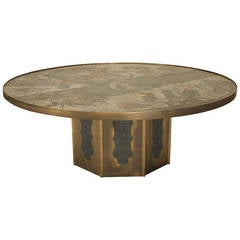 1980's American Patinated Bronze Coffee Table by Philip and Kelvin LaVerne