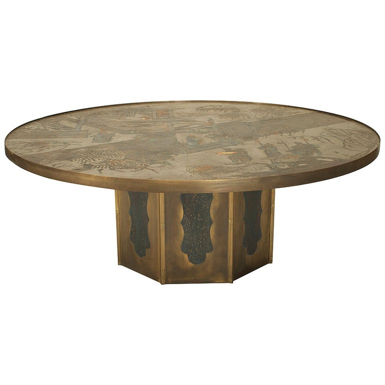 1980's American Patinated Bronze Coffee Table by Philip and Kelvin LaVerne For Sale