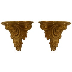 Pair of 18th c. Italian Rococo Gilt Carved Wall Shelves