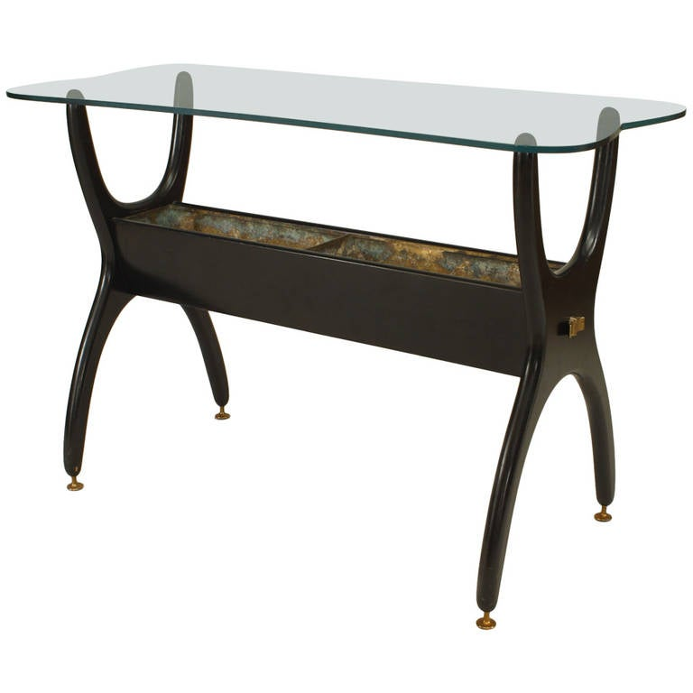 1950's Italian Ebonized Fernery End Table Attributed to Ico Parisi