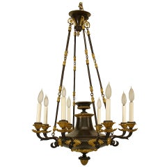 French Empire Gilt Trimmed Bronze Chandelier, c.1820