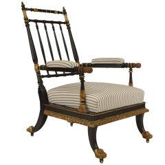 Austrian Gilt Trimmed Spindle Design Armchair, c. 1830