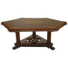 19th Century English Regency Hexagonal Mahogany Center Table