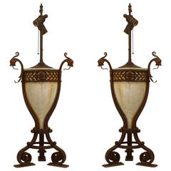 Pair of Turn of the Century Alabaster and Wrought Iron Lamps