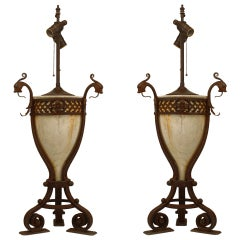 Italian Renaissance Style Alabaster and Wrought Iron Lamps