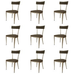 Set of 9 1950's American Upholstered Aluminum Side Chairs