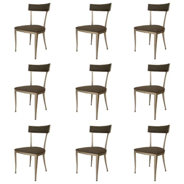 Set of 9 1950's American Upholstered Aluminum Side Chairs For Sale