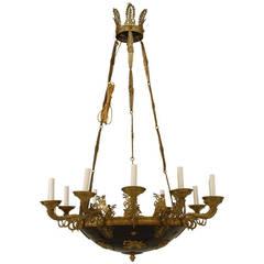19th c. French Empire Ebonized Bronze Chandelier