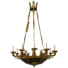 19th c. French Empire Ebonized Bronze Chandelier