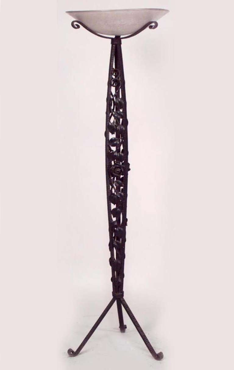 French Art Deco Wrought Iron Floor Lamp By Mulaty For Sale