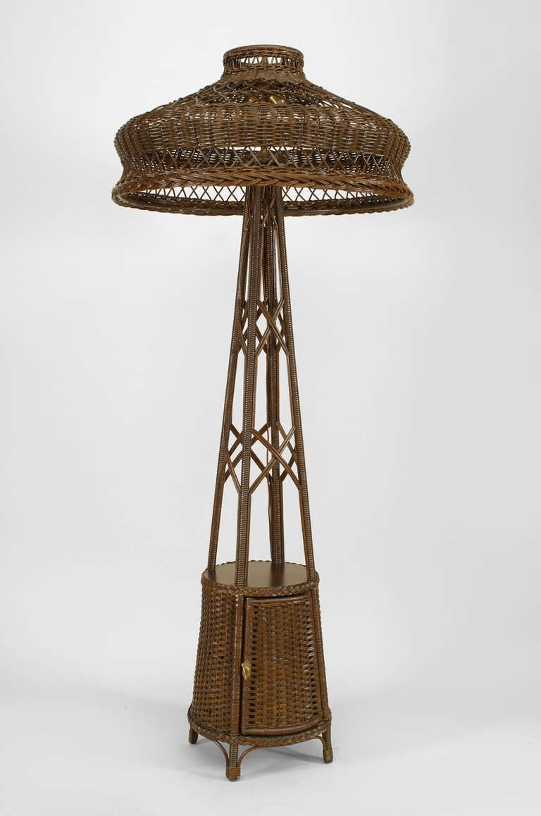 turn of the century wicker mission floor lamp at 1stdibs. Black Bedroom Furniture Sets. Home Design Ideas
