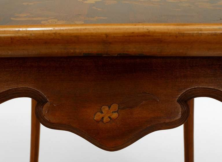 20th Century French Art Nouveau Walnut Serving Table by Emile Galle For Sale