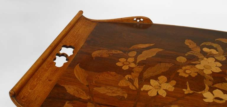 French Art Nouveau Walnut Serving Table by Emile Galle For Sale 1