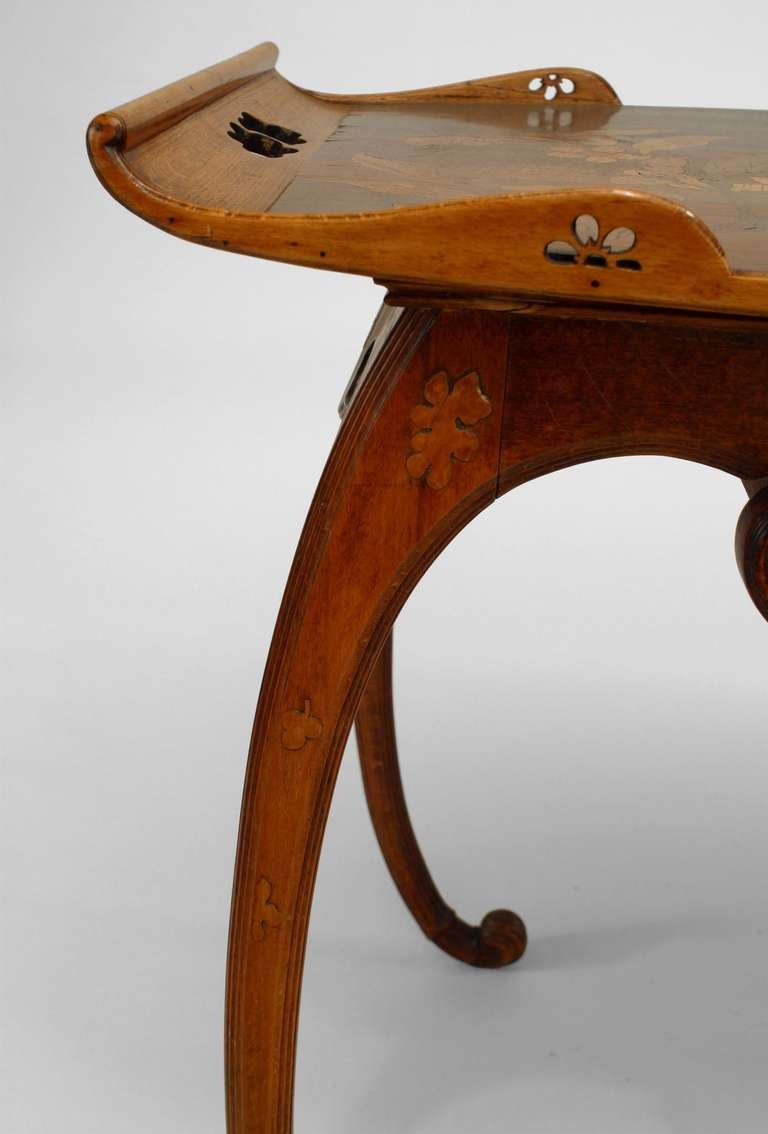 French Art Nouveau Walnut Serving Table by Emile Galle For Sale 2