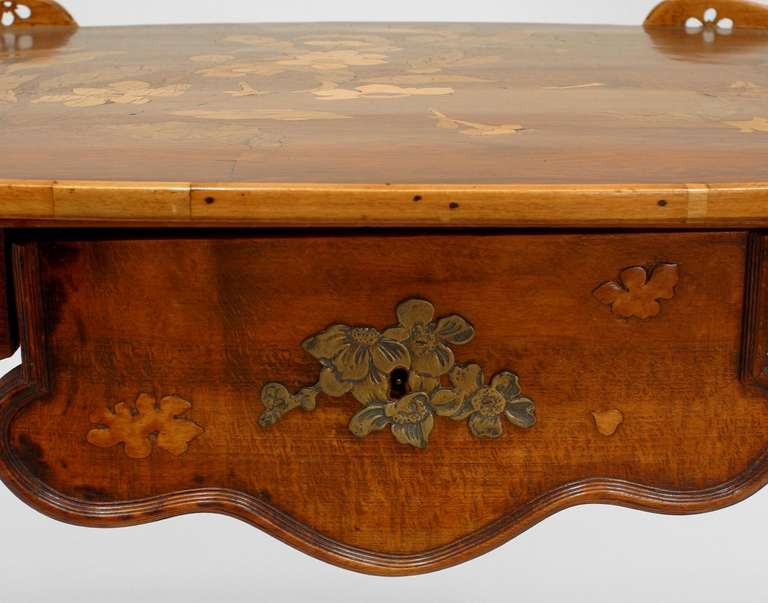 French Art Nouveau Walnut Serving Table by Emile Galle For Sale 3