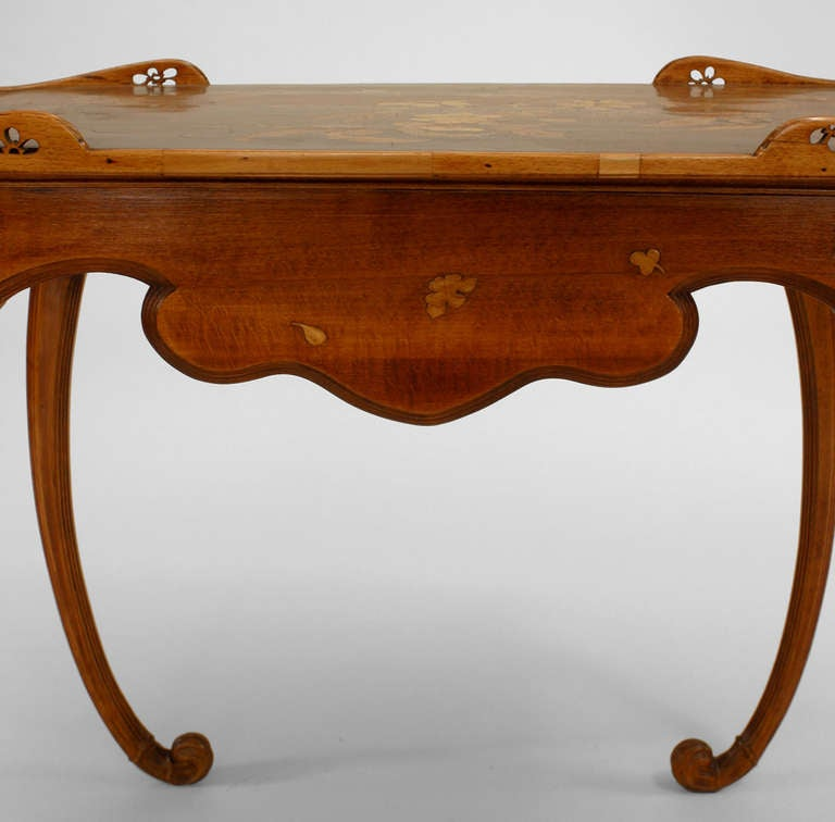 French Art Nouveau Walnut Serving Table by Emile Galle For Sale 4