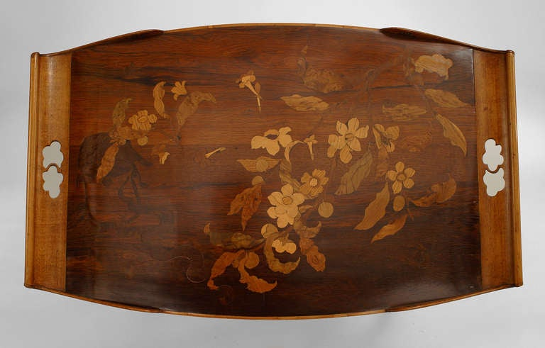 French Art Nouveau Walnut Serving Table by Emile Galle For Sale 5