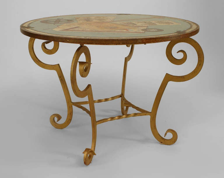 French art deco trompe l 39 oeil end table for sale at 1stdibs for Deco trompe l oeil mural