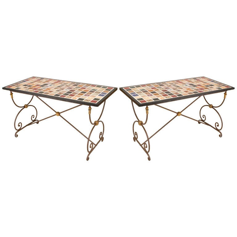 Neoclassical Style French Steel and Marble End Tables