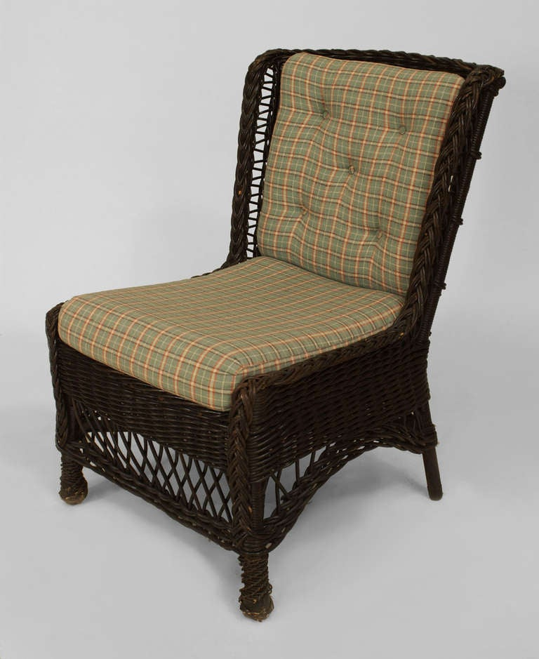 19th c Upholstered Wicker Wingback Chair by Heywood