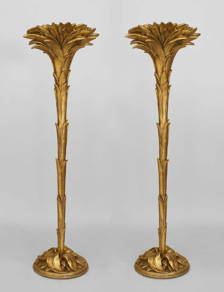 Pair of art deco serge roche gilt palm floor lamps at 1stdibs for Art deco palm tree floor lamp