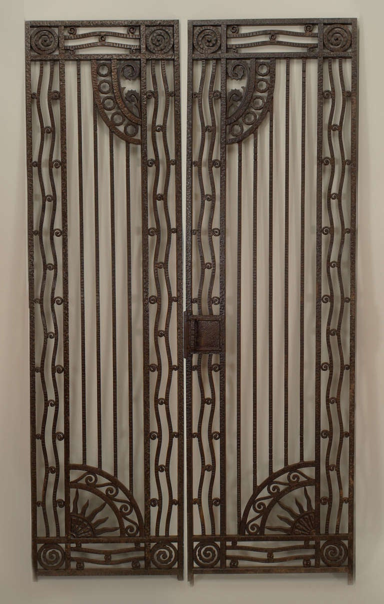 Pair of French Art Deco Wrought Iron Gates at 1stdibs