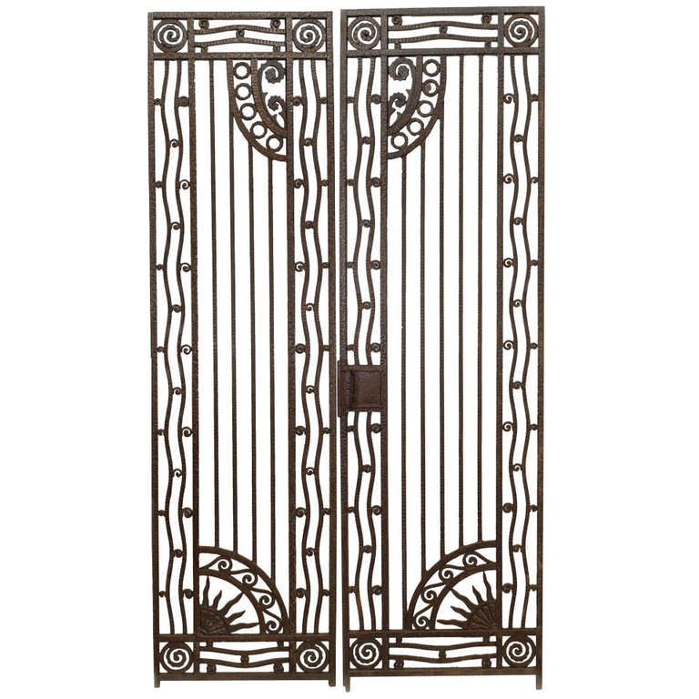 Wrought Iron Artwork Captivating Pair Of French Art Deco Wrought Iron Gates At 1Stdibs Review